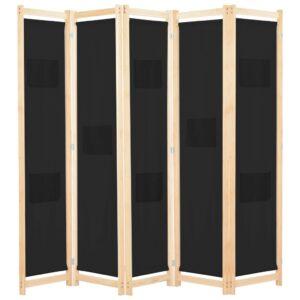 Divisória de quarto com 5 painéis 200x170x4 cm tecido preto - PORTES GRÁTIS
