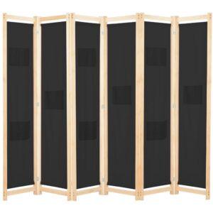 Divisória de quarto com 6 painéis 240x170x4 cm tecido preto - PORTES GRÁTIS
