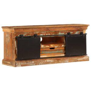 Móvel de TV 110x30x45 cm madeira recuperada maciça  - PORTES GRÁTIS