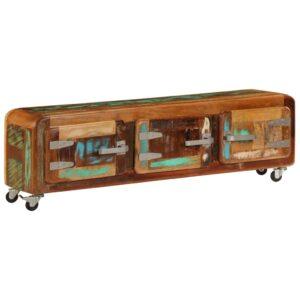 Móvel de TV 120x30x37 cm madeira recuperada maciça  - PORTES GRÁTIS