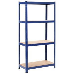 Prateleiras de arrumação 80x40x160 cm aço e MDF azul - PORTES GRÁTIS