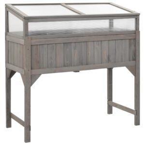 Canteiro elevado com estufa 120x54x120 cm madeira de abeto - PORTES GRÁTIS