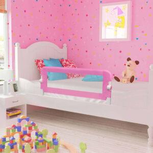 Barra de segurança p/ cama infantil 120x42cm poliéster rosa - PORTES GRÁTIS
