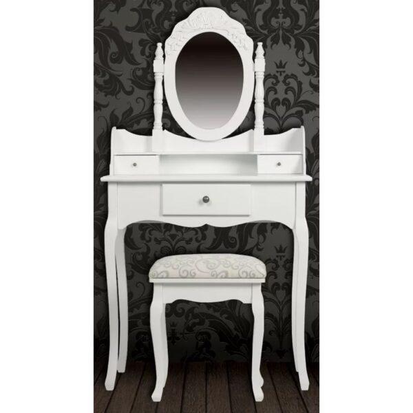 Toucador com espelho e tamborete, branco - PORTES GRÁTIS