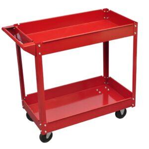 Carrinho de oficina para ferramentas vermelho - capacidade de carga (máximo): 100 kg- PORTES GRÁTIS