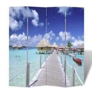 Biombo dobrável com estampa de praia 160x170 cm - PORTES GRÁTIS