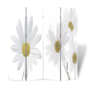 Biombo dobrável com estampa de flores 160x180 cm - PORTES GRÁTIS