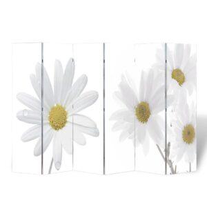 Biombo dobrável com estampa de flores 240x170 cm - PORTES GRÁTIS