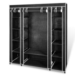 Armário tecido com compartimentos e varões 45x150x176 cm preto   - PORTES GRÁTIS