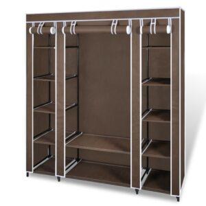 Armário tecido c/ compartimentos e varões 45x150x176cm castanho   - PORTES GRÁTIS
