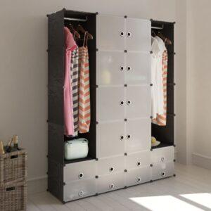 Armário plástico modular 18 gavetas 37x146x180,5cm preto branco - PORTES GRÁTIS
