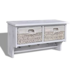 Prateleira c/ cabides + 2 cestos tecelagem, madeira branca, 4 ganchos  - PORTES GRÁTIS