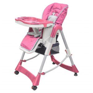 Cadeira de bebé alta Deluxe rosa altura ajustável - PORTES GRÁTIS