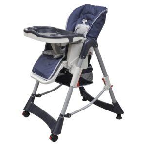 Cadeira de bebé alta Deluxe azul escuro altura ajustável - PORTES GRÁTIS