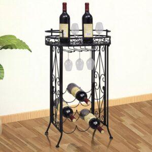 Garrafeira de metal, mesa com ganchos para 9 garrafas de vinho - PORTES GRÁTIS