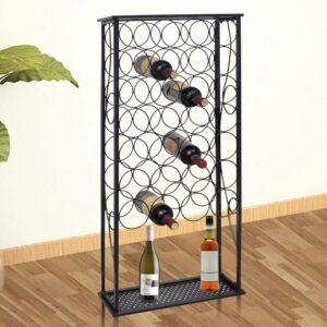 Garrafeira de metal, suporte para 28 garrafas de vinho - PORTES GRÁTIS