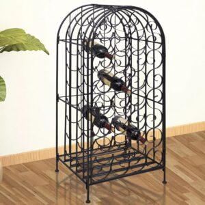 Garrafeira de metal, suporte para 35 garrafas de vinho - PORTES GRÁTIS