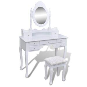 Toucador com espelho e banco 7 gavetas branco   - PORTES GRÁTIS