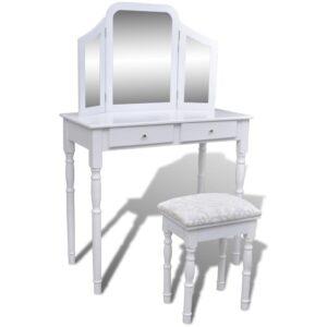 Toucador com espelho 3-em-1 e banco 2 gavetas branco   - PORTES GRÁTIS