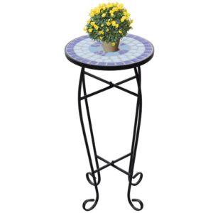 Mesa Lateral para Plantas em Mosaico Azul e Branco - PORTES GRÁTIS