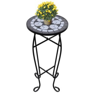 Mesa Lateral para Plantas em Mosaico Preto e Branco - PORTES GRÁTIS
