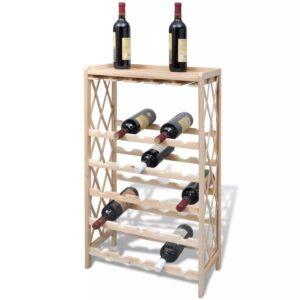 Prateleira de madeira para 25 garrafas de vinho - PORTES GRÁTIS