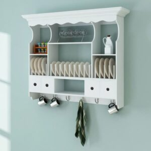 Gabinete de madeira para a cozinha de parede branco - PORTES GRÁTIS