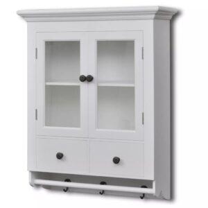 Armário de Parede para Cozinha, Branco, com Porta de Vidro - PORTES GRÁTIS