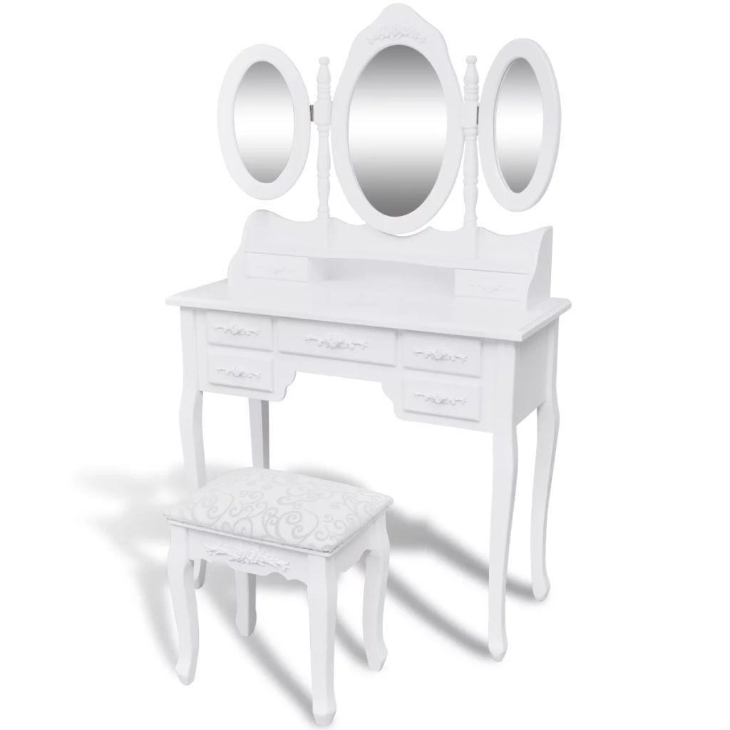 Toucador com 3 Espelhos e Banquinho – PORTES GRÁTIS