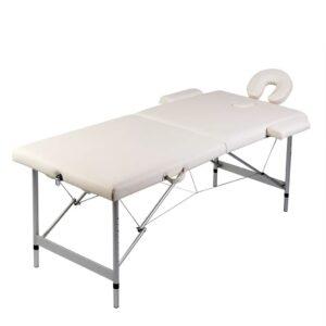 Mesa de Massagem 2 Zonas Branco Creme estrutura em Alumínio - PORTES GRÁTIS