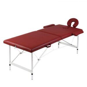 Mesa de massagem, dobrável, em vermelho, com 2 zonas  - PORTES GRÁTIS