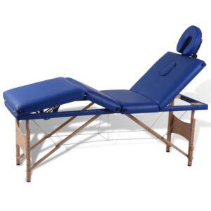 Mesa de massagem, dobrável, com 4 zonas, com estrutura de madeira - PORTES GRÁTIS