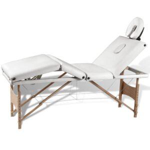 Marquesa Dobrável Branco Creme Mesa com 4 Zonas e Estrutura de Madeira - PORTES GRÁTIS
