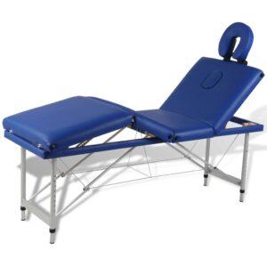 Mesa de massagem, dobrável, em azul, com 4 zonas, estrutura aluminio - PORTES GRÁTIS