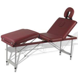 Mesa de massagem, dobrável, em vermelho, com 4 zonas  - PORTES GRÁTIS