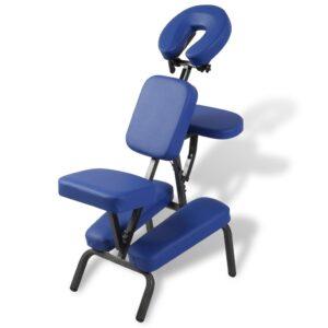 Cadeira de massagem, portátil e dobrável em azul - PORTES GRÁTIS