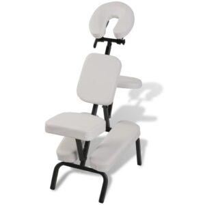 Cadeira de massagem, portátil e dobrável em branco - PORTES GRÁTIS