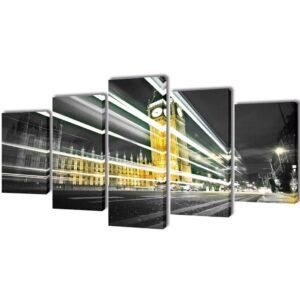 Conjunto 5 quadros impressão do Big Ben de Londres 100 x 50 cm - PORTES GRÁTIS