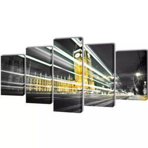 Conjunto 5 quadros impressão do Big Ben de Londres 200 x 100 cm - PORTES GRÁTIS