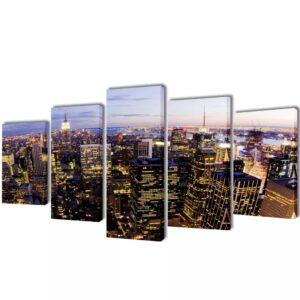 Conjunto 5 quadros com impressão vista horizonte de Nova Iorque 100 x 50 cm - PORTES GRÁTIS
