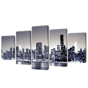 Conjunto 5 quadros monocromo Nova Iorque 200 x 100 cm - PORTES GRÁTIS