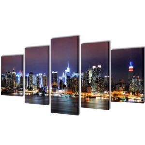 Conjunto 5 quadros multicromático horizonto Nova Iorque 100 x 50 cm - PORTES GRÁTIS