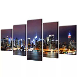 Conjunto 5 quadros Nova Iorque 200 x 100 cm - PORTES GRÁTIS
