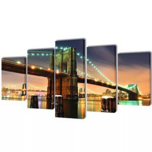 Conjunto 5 quadros com impressão ponte de Brooklyn 100 x 50 cm - PORTES GRÁTIS