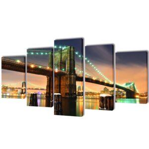 Conjunto 5 quadros com impressão ponte de Brooklyn 200 x 100 cm - PORTES GRÁTIS