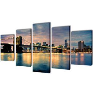 Conjunto 5 quadros com impressão vista rio da ponte de Brooklyn 100 x 50 cm - PORTES GRÁTIS