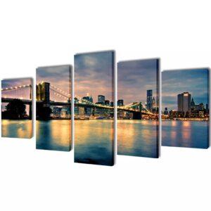 Conjunto 5 quadros com impressão vista rio da ponte de Brooklyn 200 x 100 cm - PORTES GRÁTIS
