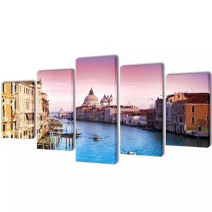Conjunto 5 quadros Veneza 100 x 50 cm - PORTES GRÁTIS