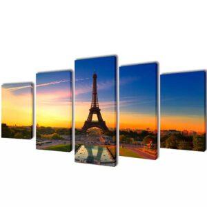 Conjunto 5 quadros Torre Eiffel 100 x 50 cm - PORTES GRÁTIS