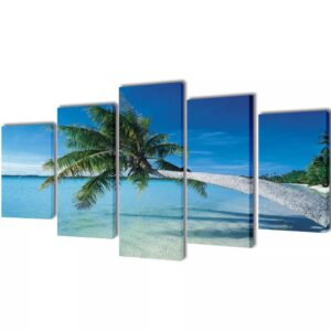 Conjunto 5 quadros praia com palmeira 100x50 cm - PORTES GRÁTIS